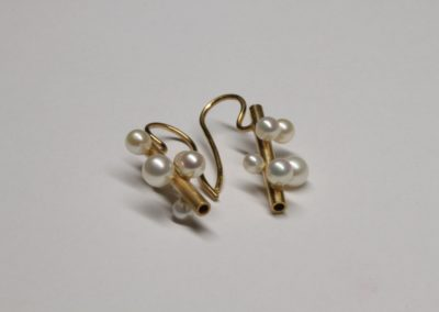 """Ohrhänger """"Perlästchen"""", Silber, goldplattiert, Zuchtperlen"""