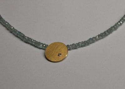 "Kette ""runde Sache"", Zirkon, blau, Silber goldplattiert, Diamant"